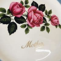'Mother' China Plate - Pink Roses - 50s